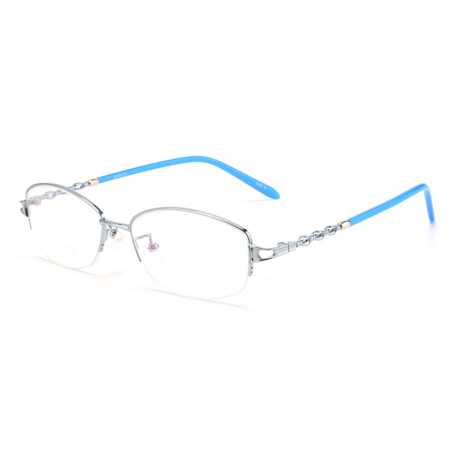 8c83fa4d14 Titanium Eyewear Optical Frame Half Rim Reading Glasses Women Myopia  Computer Eyeglasses Spectacles lightness pink 3056