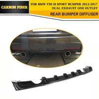 3 séries de fibra de carbono carro traseiro pára-choques spoiler difusor para bmw f30 m sport pára-choques 12-17 dupla escape uma tomada preto frp