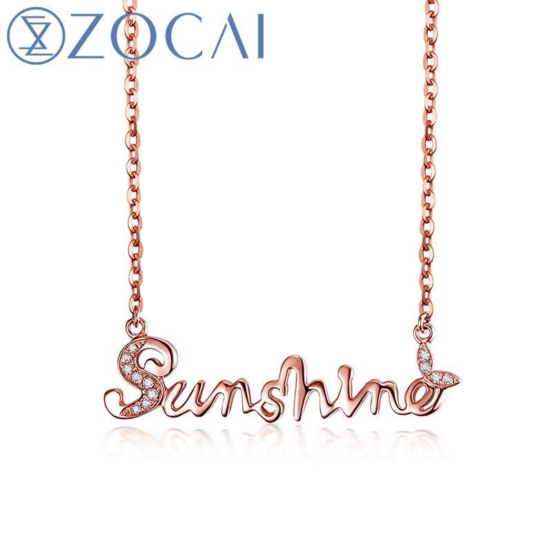 ZOCAI Цепочки и ожерелья You Are My Sunshine 18 К розовое золото 0.03 кт Бриллиантовое Цепочки и ожерелья М размер один x00527