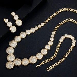 Image 3 - CWWZircons 3 Pcs Hohe Qualität Cubic Zirkon Dubai Gold Halskette Schmuck Set für Frauen Hochzeit Abend Party Kleid Zubehör T349