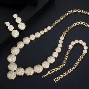 Image 3 - CWWZircons 3Pcs High Quality Cubic Zircon Dubai Gold Necklace Jewelry Set for Women Wedding Evening Party Dress Accessories T349
