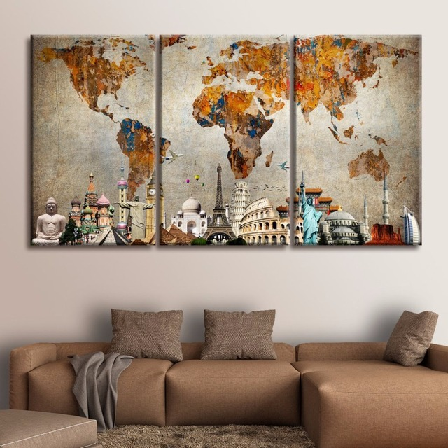 Panel Canvas Painting Colorful World Map Monuments Canvas Print - Colorful world map painting