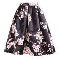 Muchacha de las mujeres Faldas Nuevo 2015 de La Vendimia de la Impresión Floral de la Bola flor de Durazno Invierno Patinador Plisada Larga Falda de Midi
