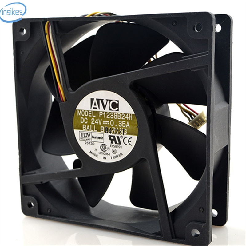 P1238B24H 4 Wires Inverter Industrial Computer Cooling Fan DC 24V 0.35A 12038 120*120*38 ...
