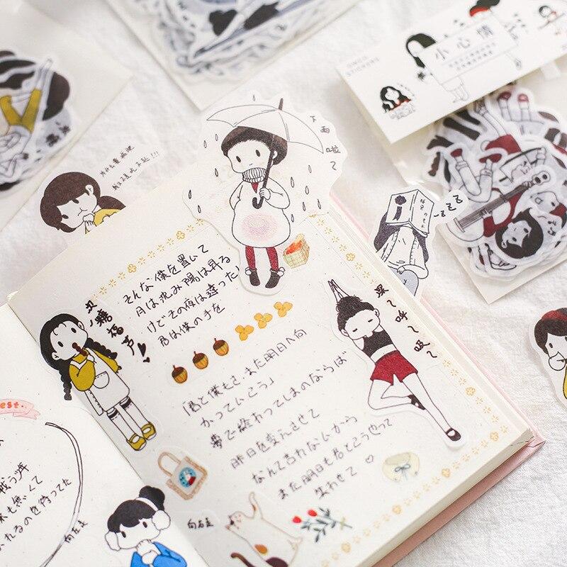 Купить с кэшбэком Salt-based Villain Washi Paper Sticker Pack Daily Hand-decorative Material DIY Character Diary Stickers