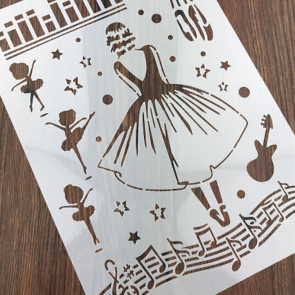 Musical Ballet Girl Shaped Reusable Stencil Airbrush Painting Art DIY Home Decor Scrap Booking Album Crafts  Free Shipping