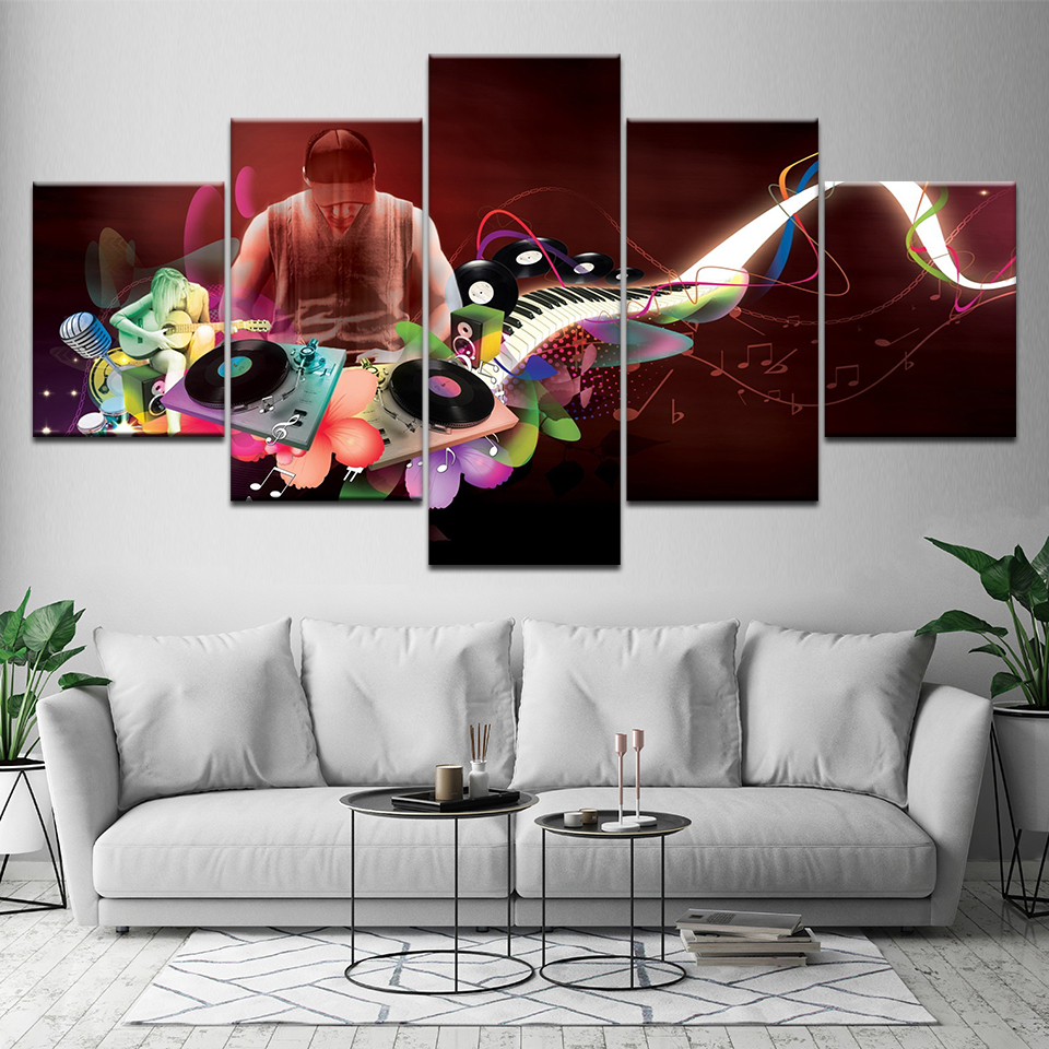5 pieces black cool men modern musical instruments large - Mens bedroom wall art ...