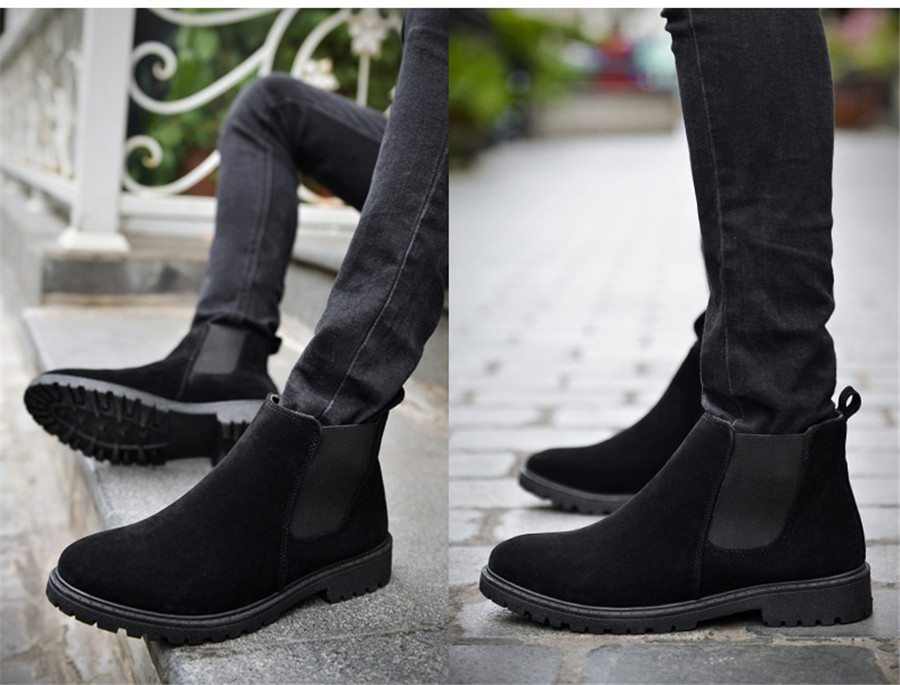 PINSV Chelsea Boots Men Shoes Ankle Boots Men Cow Suede Leather Boots For Men Trendy Autumn Shoes Bota Masculina 15