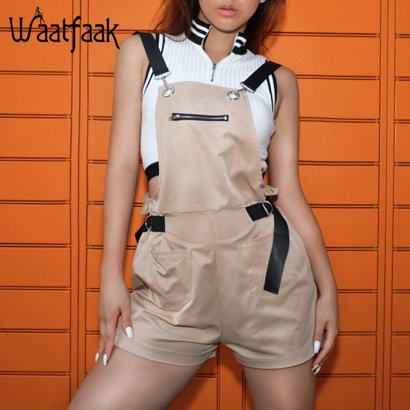 Waatfaak Bandage Solid Khaki Loose Playsuit Women Sleeveless Backless Zipper Pockets Adj ...