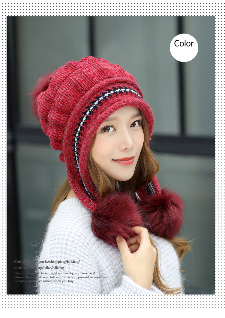 New Autumn And Winter Korean Version Of The Warm Women Hat Gloves Set Knitted Hair Ball Two Sets Of Ladies Thickening HC37 (9)