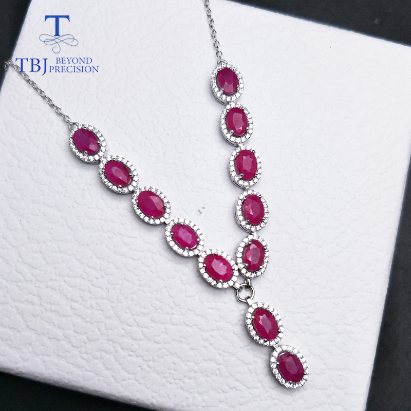 TBJ,natural ruby oval 4*6mm 7.95ct,S925 silver noble design necklace&pendant,best gift for women girls lady,Engagement gift wear