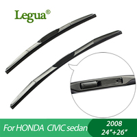 1 Set Wiper Blades For HONDA CIVIC Sedan 2008 24 26 Car Wiper 3 Section Rubber