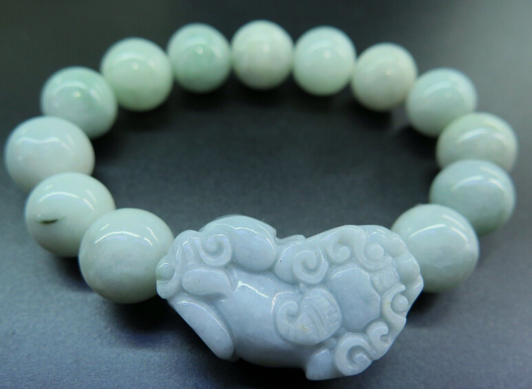 цена FREE SHIPPING Chinese Green stone / Jadeite Lucky Smooth Bead & PIXIU Bracelet /12mm JADE GEMSTONE онлайн в 2017 году