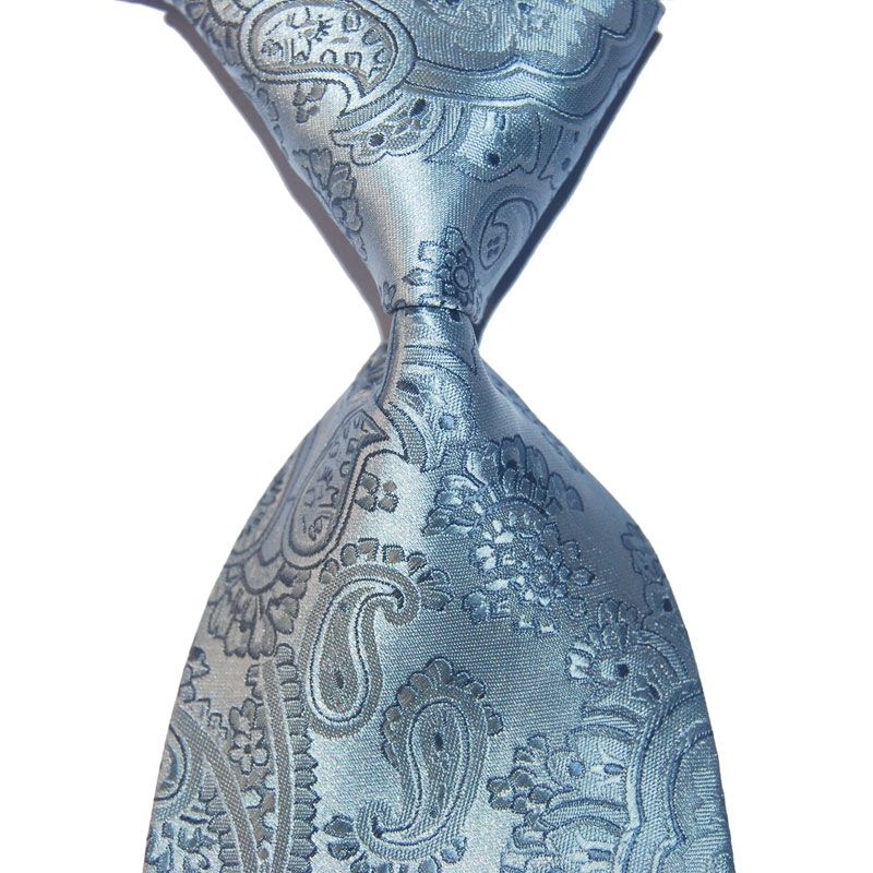 Silk Tie Gift For Men Paisley Necktie Gray 10cm Width Beige Fashion Jacquard Woven Formal Wear Business Wedding Party Christmas