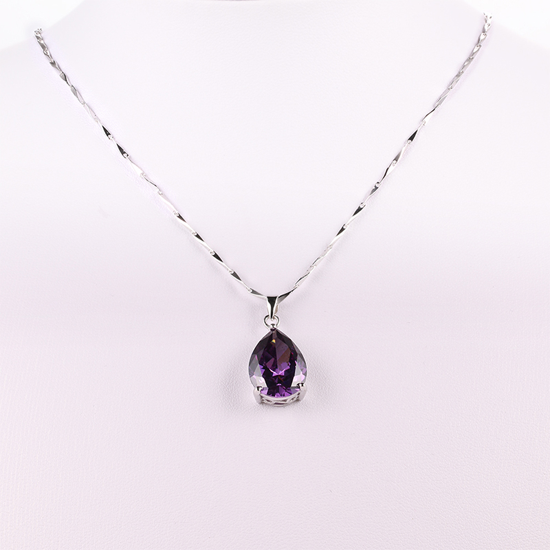JQUEEN Wholesale 925 Sterling Silver Jewelry Pearl Cut Waterdrop Amethyst Pendant Necklace for Women's Clothing & Accessories