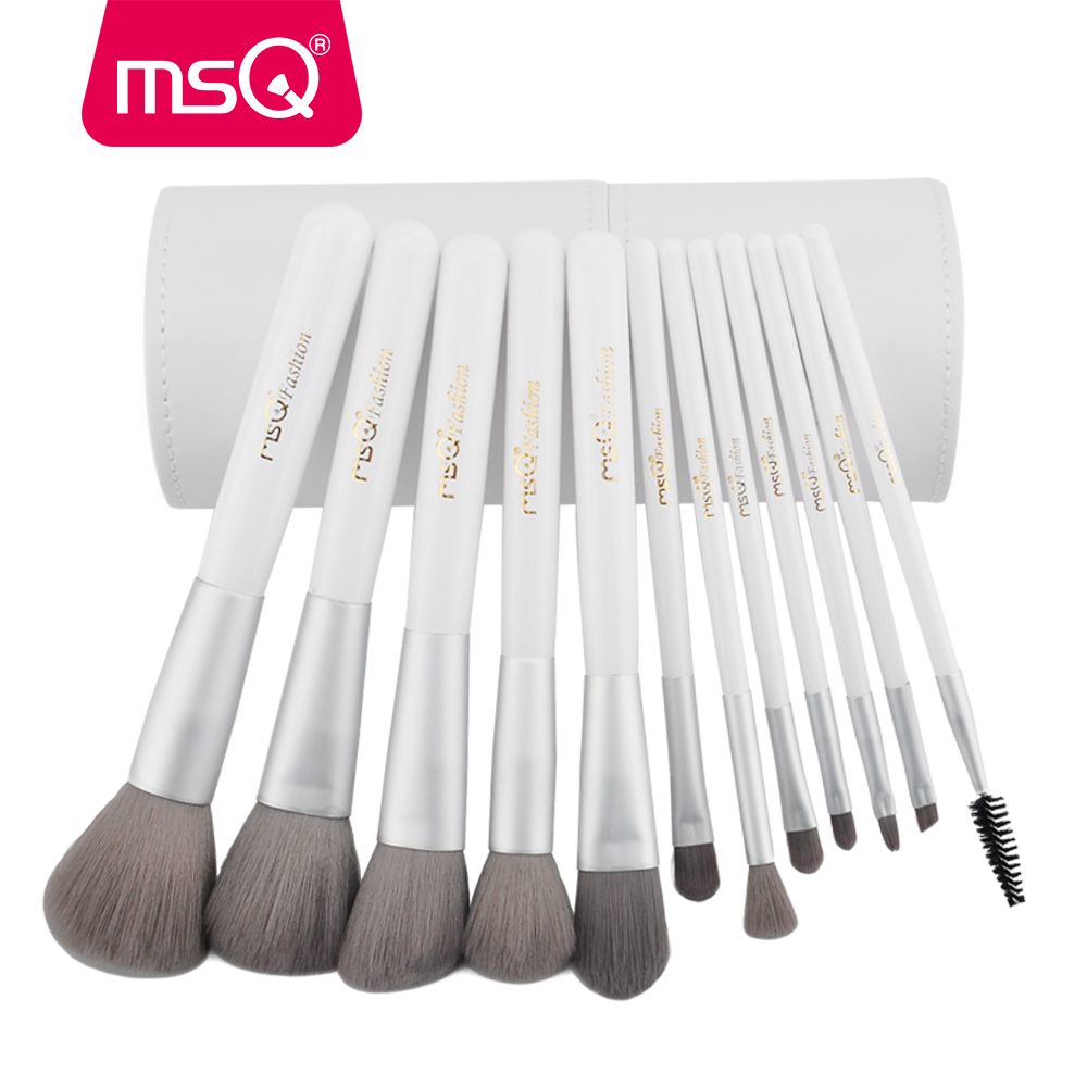 MSQ Pro 12pcs Professional Makeup Brushes Set Powder Foundation Eyeshadow Eyeliner Lip Charcoal Fiber Brush Tool With Cylinder 2017 new20pcs foundation eyeshadow eyeliner lip brush tool makeup brushes set powder new