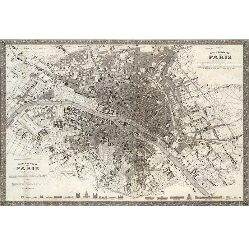 Paris High Vertical View Map Canvas Paintings Wall Art Home: Paris Map Canvas At Infoasik.co