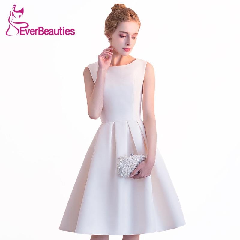 Халат De Soiree короткое вечернее платье 2019 белый атлас простой дизайн провечерние М платье без рукавов Abiye