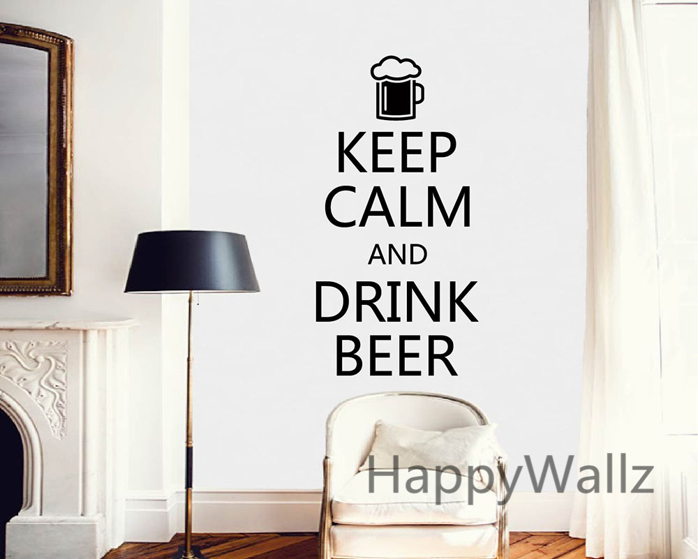 Motivational Keep Calm Drink Beer Quote Wall Sticker DIY Decal Vinyl Lettering Stickers Hot Sale Free Shipping
