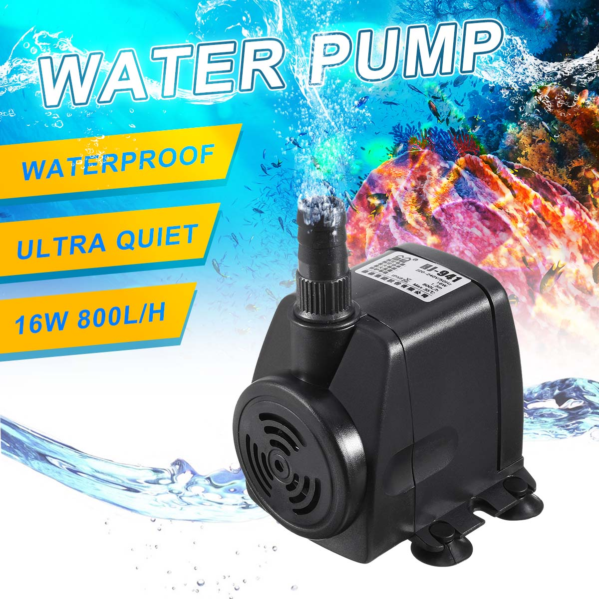 Us 13 11 24 Off 16w Hj 941 Submersible Water Pump 220v 240v 800 L H Aquarium Fish Tank Waterfall Garden Fountain Pond Pool Pumps In From