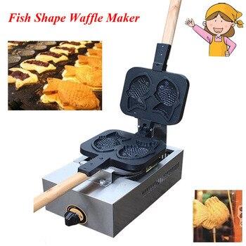 Japanese Fish Waffle Making Machine Taiyaki Baker Mini Household Donut Maker Snack Equipment FY-1105.R 6pcs fish waffles commercial use non stick lpg gas icecream taiyaki baker maker machine iron batter dispenser stuffing scoop