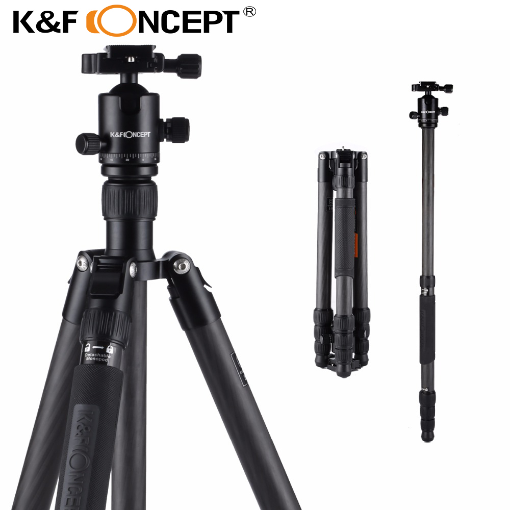 K&F CONCEPT TC3134C Professional Portable Travel Carbon Fiber Camera Tripod Monopod Ball Head for DSLR Camera 18kg Load Capacity load 15kg manbily cz 302 5 sections carbon fiber walking stick video monopod tripod with kf 0 ball head for dslr camera