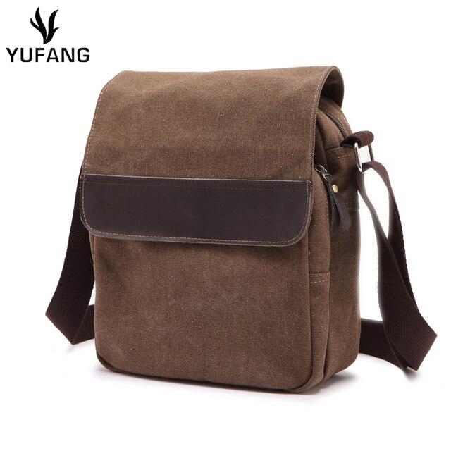 Yufang Daily Men Messenger Bag Canvas Vintage Shoulder For Male Black Brown Man Sling