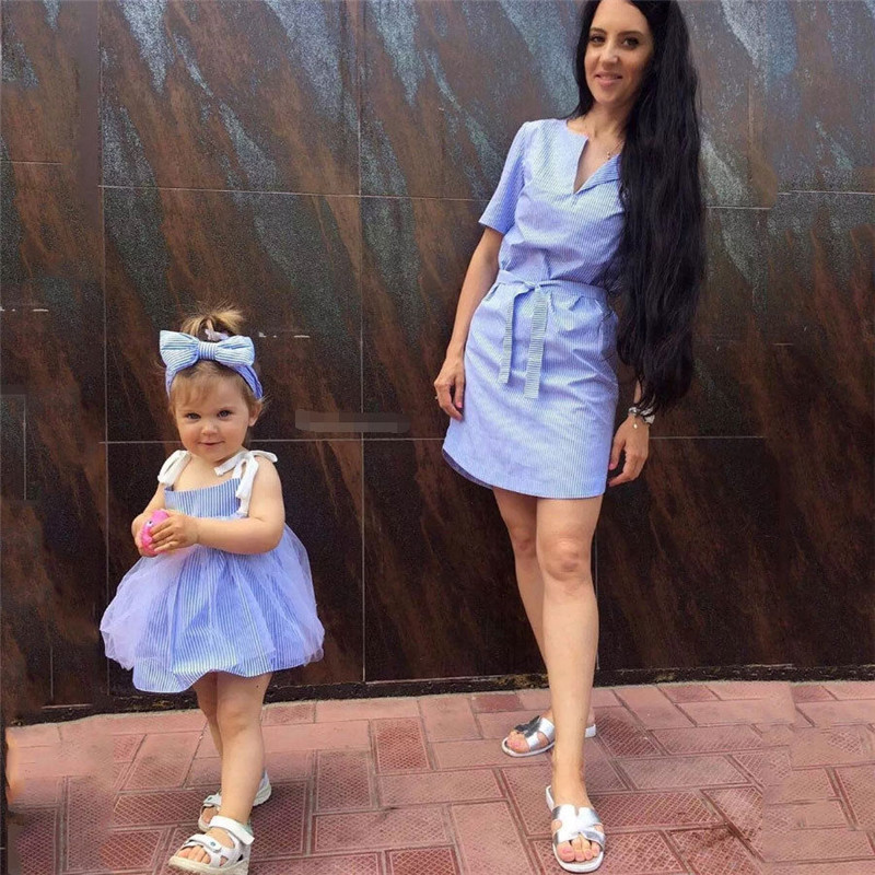 2018 Newly Mother Daughter Dresses Matching Outfits Mommy And Me Clothes Stripe Dress Matching Women Girls Casual Family Clothes