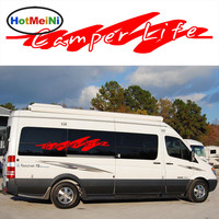 HotMeiNi 2x Camper LifeLettering Word Art Graphics Casual Happy Styling Car Sticker for Truck Van Vinyl Decals Fashion Outdoor