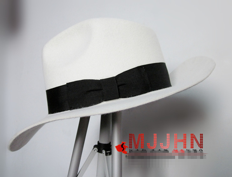 —Hot DealsMJ Michael Jackson Smooth Criminal With Name White FEDORA Wool Hat Trilby Collectionú