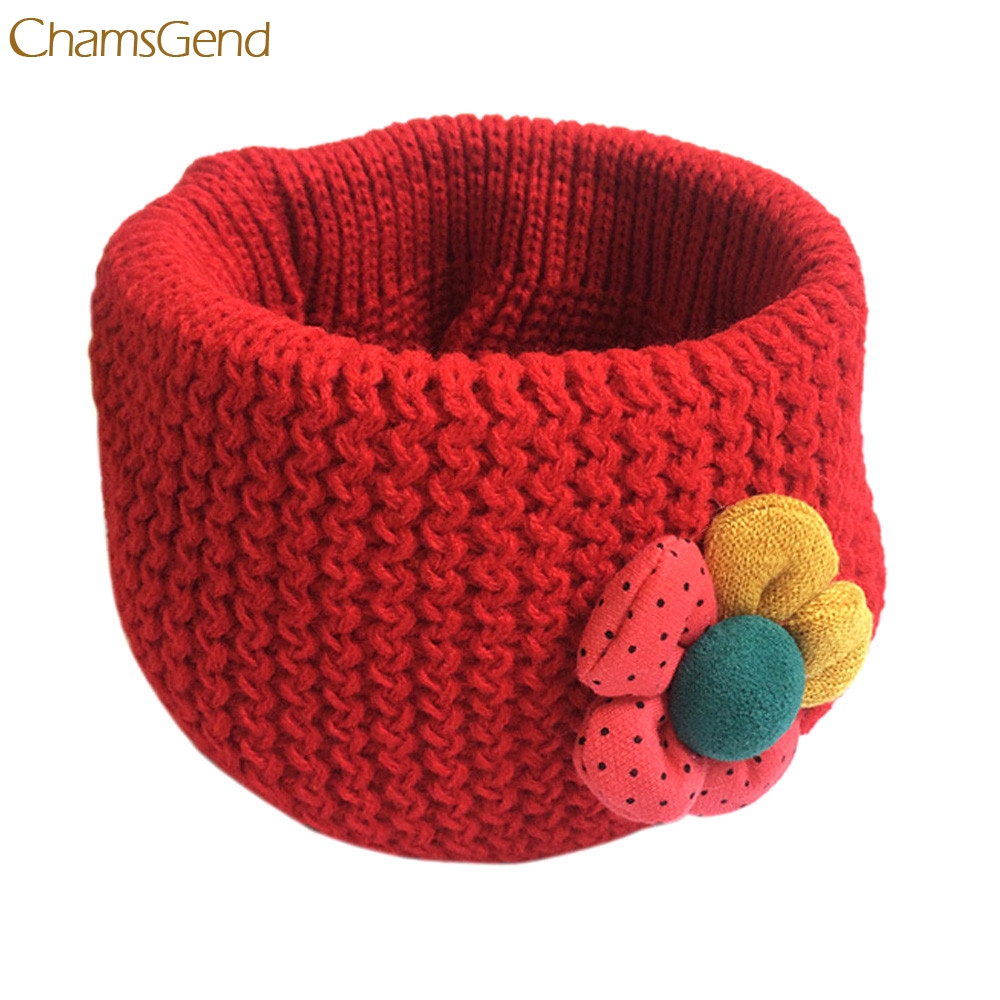 Oct 29 Elegant Flower Winter Kids Scarf Children Fashion Little Boy Girl Ring Scarf Knitted Neck Warmer
