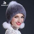 2016 das mulheres de inverno real rex rabbit fur hat com bolas de pêlo de raposa chapéu gorros cap manter quente fêmea pele