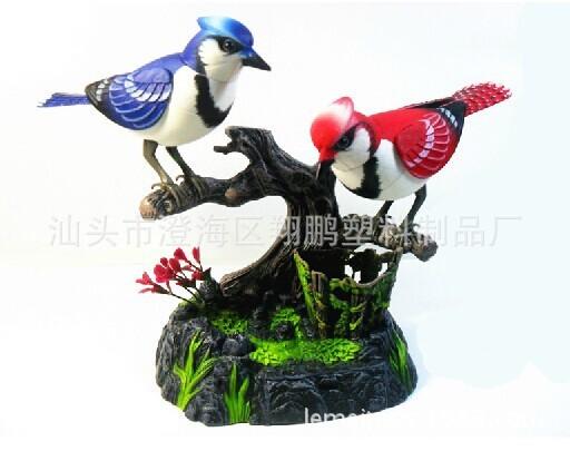 Eletrônico Pequeno Brinquedos do pássaro controle de som brinquedos aves duplas amantes simulação pássaro crianças enigma brinquedos presentes para crianças