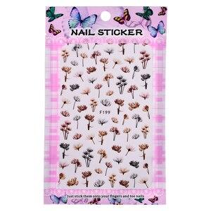 Image 2 - 1 folha em relevo 3d adesivos de unhas flor flor 3d arte do prego adesivos decalques adesivo manicure dicas da arte do prego decoração saf199
