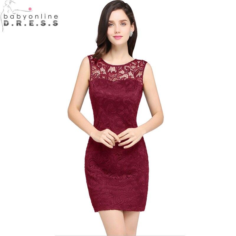 Реальные изображения Бургундия кружева короткие платья выпускные палтья длинные 2017 дешевый прямой аппликации короткие Вечерние платья