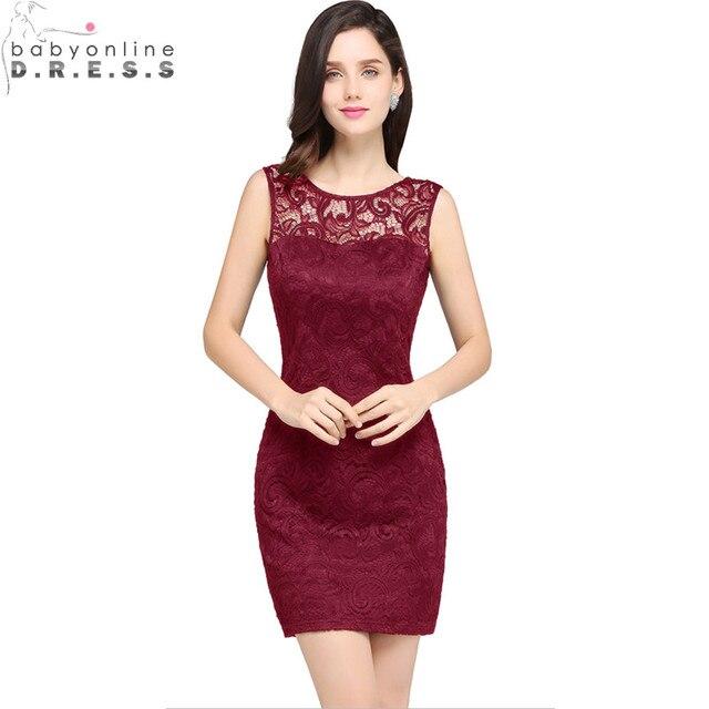 d5d7e7d9383 Image réelle bordeaux dentelle courte robes de bal longue pas cher droite  Appliques courtes robes de