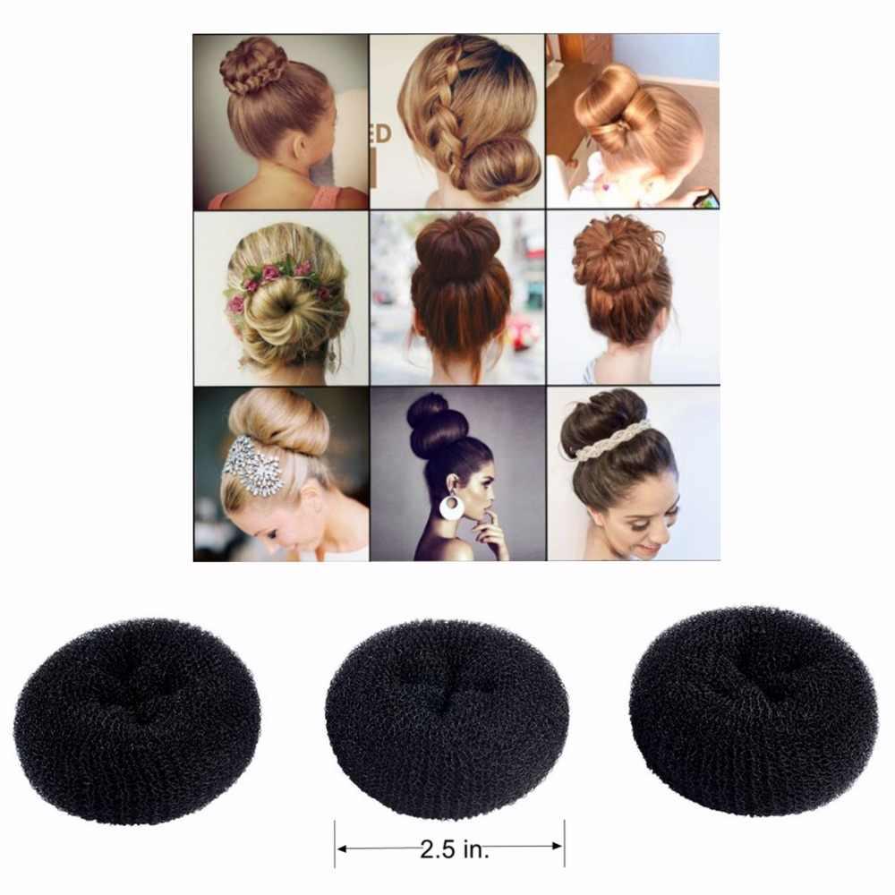 Clothobeauty 3 Pcs Extra Small Size Kids Children Hair Bun Donut Maker Chignon Hair Doughnut Shape Short Thin Hair 2 5 Black