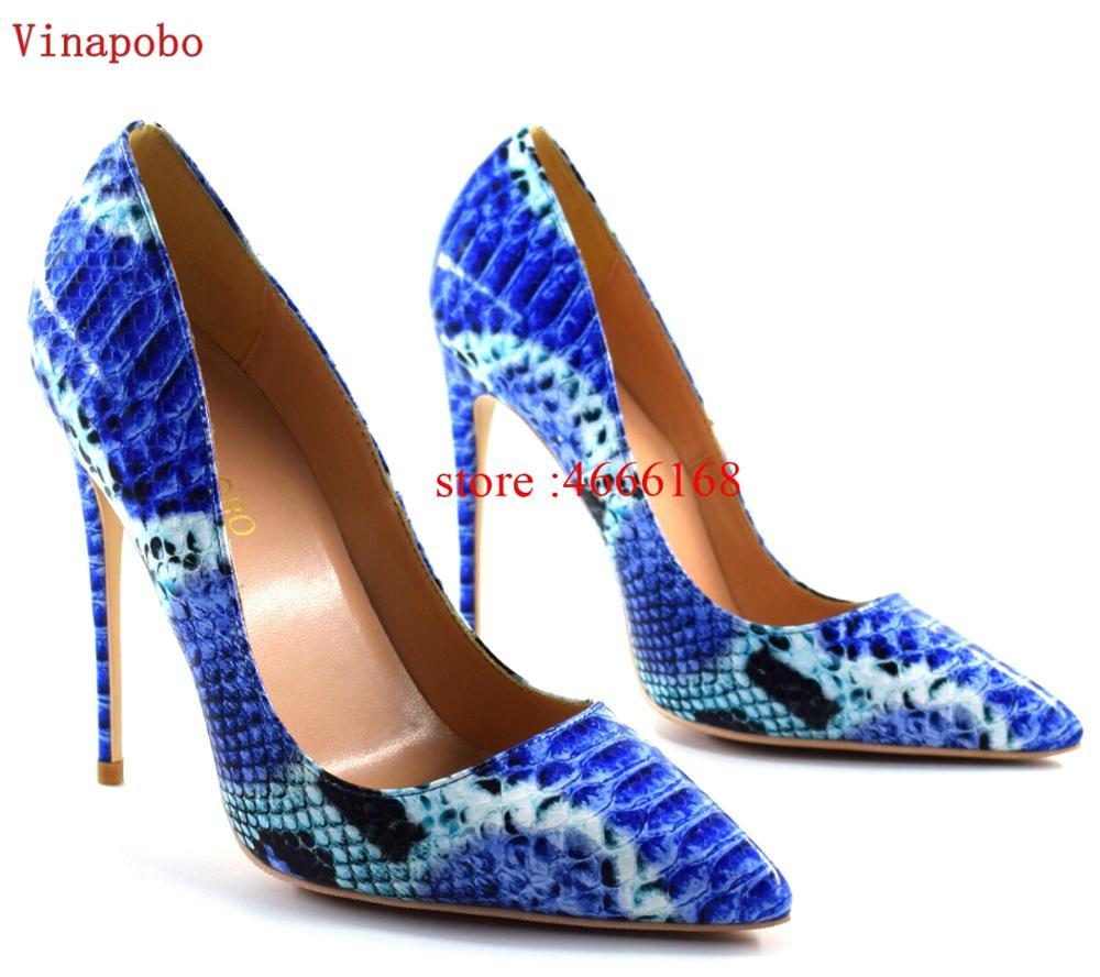 2019 Brand Fashion Women Shoes Blue Snake Printed Woman Shoes Sexy Stilettos High Heels 12cm/10cm/8cm Pointed Toe Women Pumps