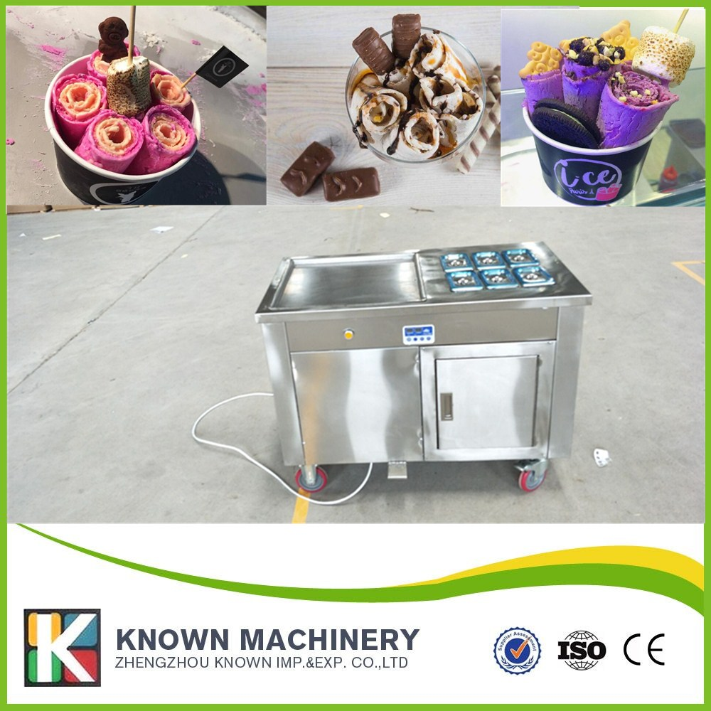 single Pan Roll Fried Ice Cream roll Machine with 6 toppings for fruit with 1 window single Pan Roll Fried Ice Cream roll Machine with 6 toppings for fruit with 1 window