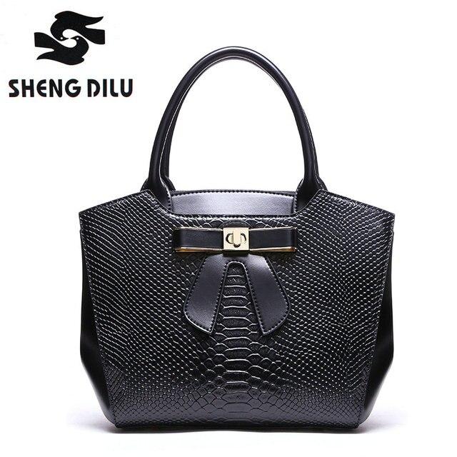Genuine Leather 2017 Handbags Women Famous Brands Luxury Designer Handbag  High Quality Crocodile Leather Tote Hand Bag Ladies c3f1e5e79f
