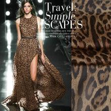 Freies verschiffen Braun leopard bedruckter Seide chiffon stoff natur seide stoff