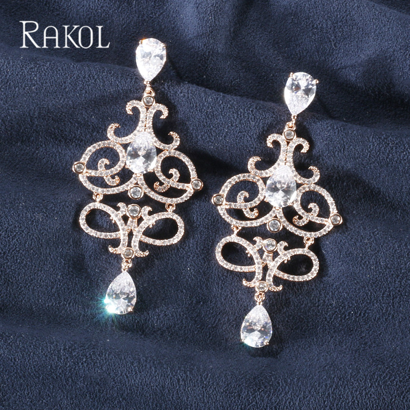 Rakol Vintage Zirconia Crystal Long Chandelier Dangle Earrings Set For Women Luxury Leaf Bridal Evening Dinner Wedding Jewelry Refreshing And Beneficial To The Eyes
