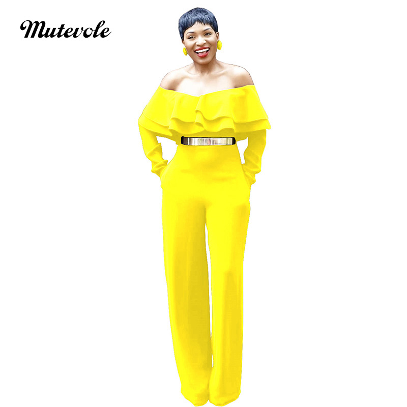 Mutevole Women Sexy Ruffle of Shoulder   Jumpsuit   Romper Casual Bodycon Wide Leg   Jumpsuit   Pocket Fashion Solid Yellow   Jumpsuit