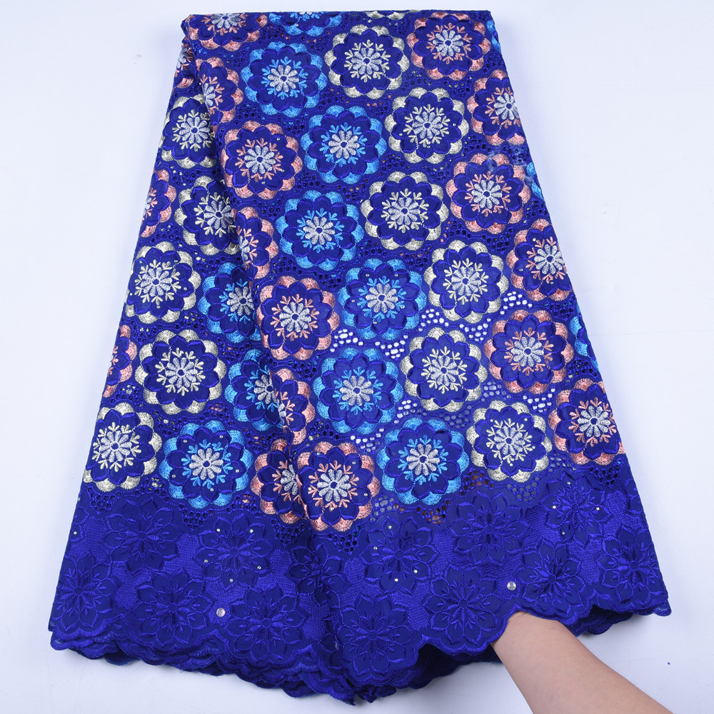Latest African Royal Blue Cotton Swiss Voile Lace Fabric High Quality 2019 African Swiss Voile Lace