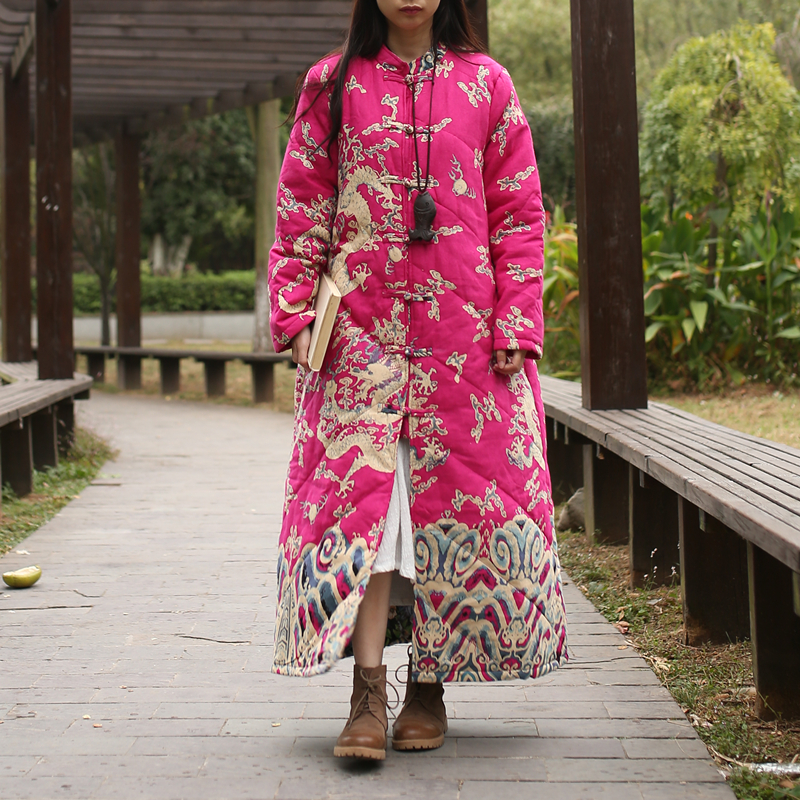 LZJN Long Parka Women 2019 Winter Jacket Cotton Padded Coat Vintage Chinese Dragon Trenchcoat Maxi Coat