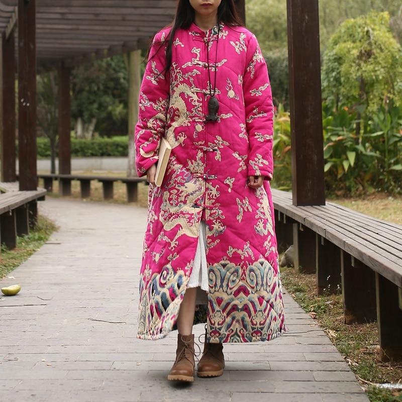 LZJN longue Parka femmes 2019 hiver veste coton rembourré manteau Vintage chinois Dragon Trenchcoat Maxi manteau matelassé chaud survêtement