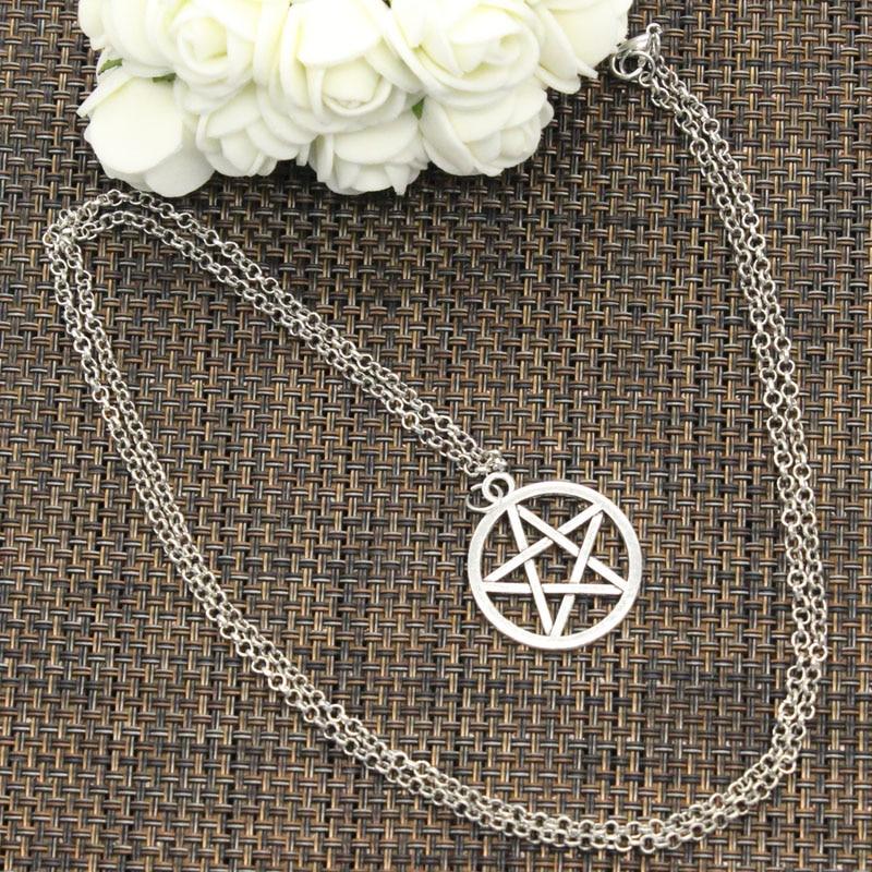 New Fashion Tibetan Silver Color Pendant Star Pentagram Choker Charm Short Long DIY Necklace Factory Price Handmade Jewelry