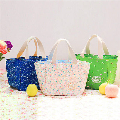 Portable Insulated Thermal Cooler Fancy flowers Picnic Lunch Bag Handy Container Pouch Beauty Bag Cosmestic Pouch