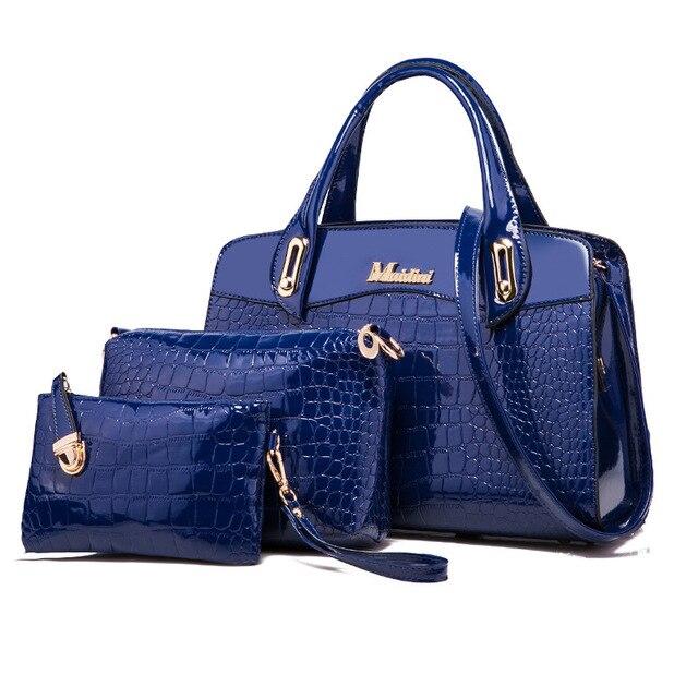 3 Pcs New Fashion Alligator Women Handbags Patent Leather Ladies Shoulder Bags Female Girl Brand Luxury Crossbody Composite Bag
