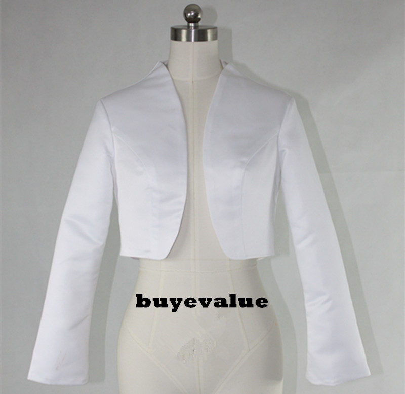 White Black Shawl Bolero Wedding Jacket Bridal Shrug Wraps Long Sleeve Satin Custom T44